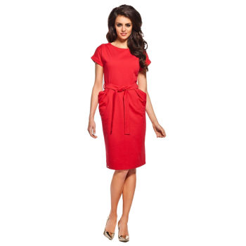 Lemoniade stilvolles Kleid mit kurzen, hochgeschlagenen Ärmeln, ausgestellten Taschen und lässigen Bindegürtel