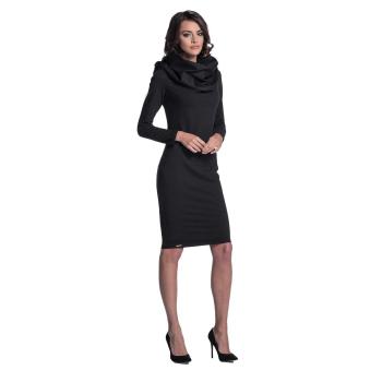 Lemoniade elegantes Kleid mit langen Ärmeln, enganliegendem Rock und aufregendem Schalkragen