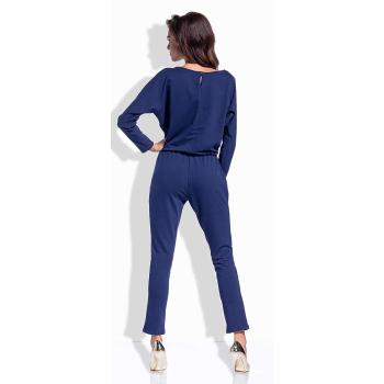 Lemoniade eleganter Jumpsuit mit langem Bein, langen Ärmeln und lässigem Rundhalsausschnit