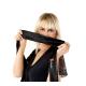 Obsessive besonderes 2-teiliges Damen Dessous-Set Mdoell B113 mit Ouvert-Body und exklusiver Satin-Augenbinde made in EU, schwarz-Schnürung, Einheitsgröße S/M/L