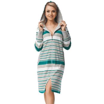 DOROTA 092A Damen Bademantel mit Reißverschluss & Kapuze