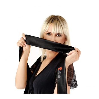 Obsessive Damen Bodystocking F221 Ouvert mit exklusiver Satin-Augenbinde