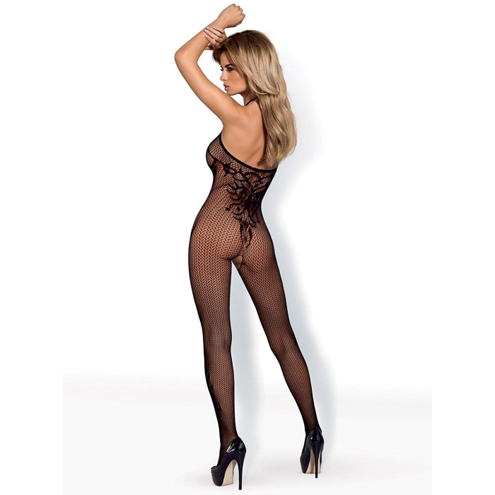 Obsessive Imposantes 2-teiliges Damen Dessous-Set aus Ouvert Bodystocking Modell G308 und Satin-Augenbinde made in EU