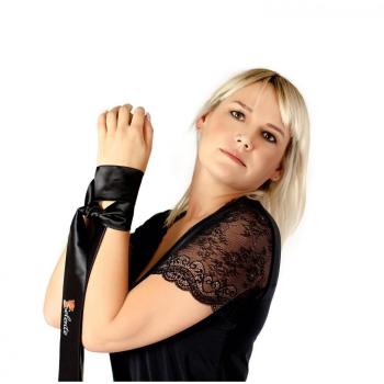 Livia Corsetti Marlies verführerisches 2-teiliges Damen Dessous-Set aus Ouvert-Bodystocking & Satin-Augenbinde made in EU (S/M/L, schwarz-Schmuckverzierung)