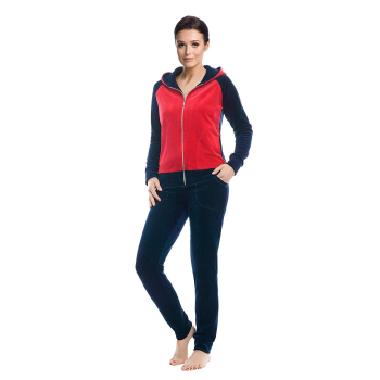 LEVERIE trendiger Damen Wellnessanzug / Hausanzug / Trainingsanzug mit stylischer Sweatjacke & bequemer Hose, made in EU (L (40), Dunkelblau/Rot mit Kapuze)