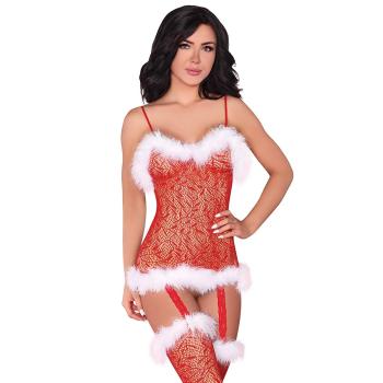 Livia Corsetti Catriona verführerisches Weihnachts-Dessous-Set aus Bodystocking / Body und exklusiver Satin-Augenbinde made in EU, rot/weiß , Einheitsgröße S/M/L