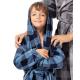 TESPOL Cool Kinder karrierter Superflausch-Bademantel mit Kapuze made in EU