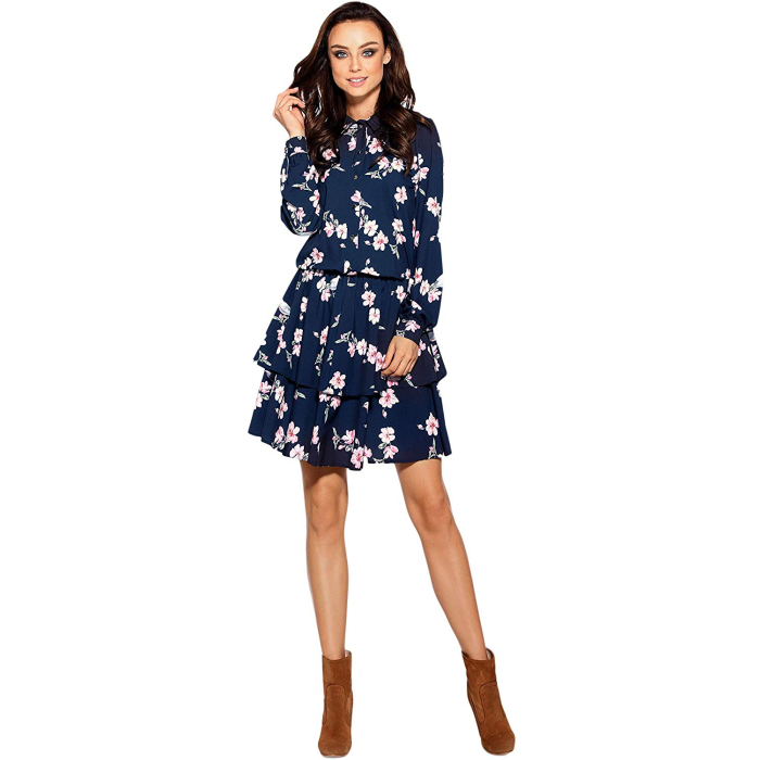 Lemoniade L281 Damen Winter-Kleid Langarm mit Blumenprint, L (40), Blau