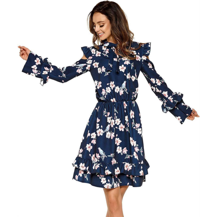 Lemoniade L276 Damen Winter-Kleid Langarm mit Blumenprint