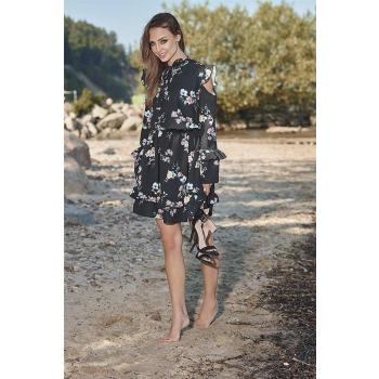 Lemoniade L276 Damen Winter-Kleid Langarm mit Blumenprint