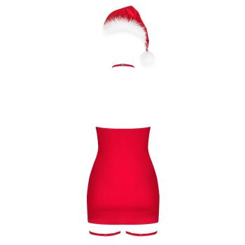 Obsessive Damen Weihnachtskleid Kissmas mit Mütze und Satin-Augenbinde
