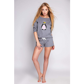 S& SENSIS Golden Damen Nachtwäsche-Set aus Shirt und Shorts