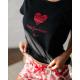 S& SENSIS Damen Baumwoll-Pyjama/ Hausanzug/ Shorty Your Heart