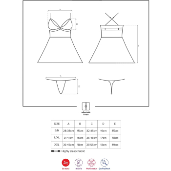 Obsessive Damen Nachthemd 838 mit Tanga und Satin-Augenbinde
