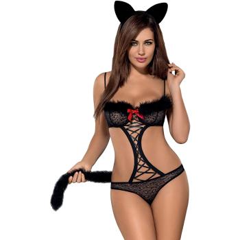 Obsessive Damen Kostüm Gepardina mit Satin-Augenbinde