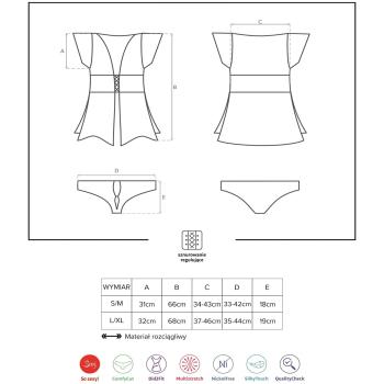 Obsessive Damen Nachthemd 868 mit Tanga und Satin-Augenbinde
