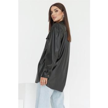 GEPUR 36167 klassisches Damen Hemd aus Kunstleder mit Gürtel