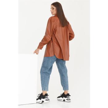 GEPUR 36169 klassisches Damen Hemd aus Kunstleder mit Gürtel