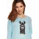 Moonline nightwear Baliza Damen Nachthemd, aus 100% Baumwolle