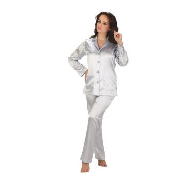 FOREX Lingerie eleganter Satin-Pyjama Schlafanzug Hausanzug im klassischen Still