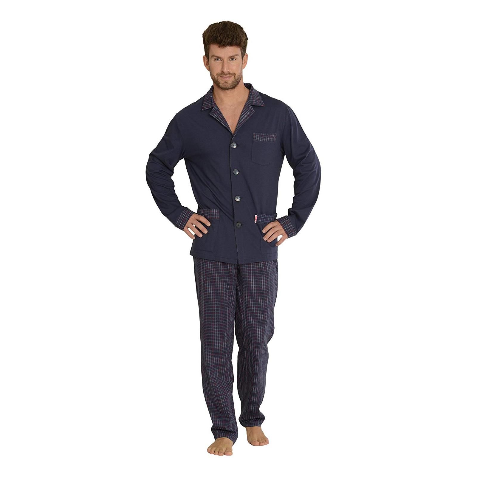 Herren Schlafanzug Oberteil Knopfleiste hellgrau 100 /% Baumwolle Größen M XXXL