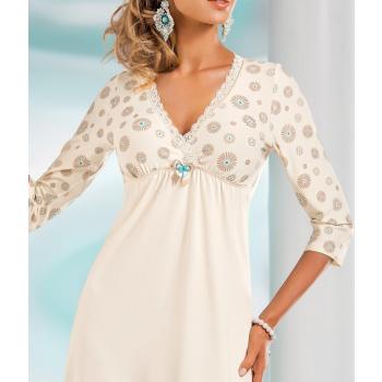 DONNA hochwertiges luftiges Viskose-Negligee Nachthemd Sleepshirt mit edlem Blumenprint in toller Geschenkbox