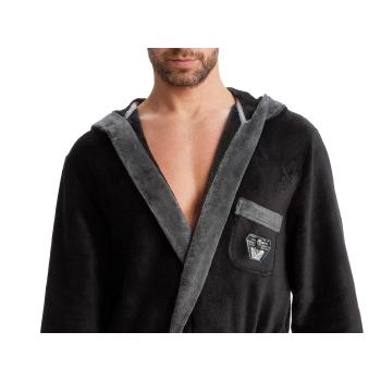 LEVERIE edler und kuschelweicher Bademantel / Saunamantel für Herren mit Kapuze und Emblem auf der Brust