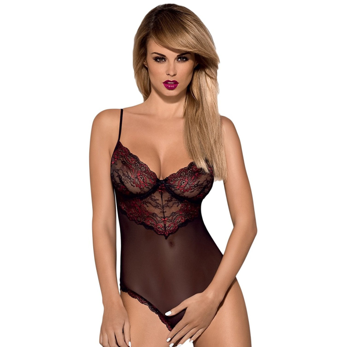 Obsessive Musca Ouvert-Body mit zarter Spitze, mit exklusiver Satin-Augenbinde made in EU